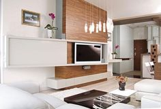 modern tv wall panels in white and wood for luxury room furniture and modern … - living room Contemporary Storage Furniture, Contemporary Lounge, Modern Furniture, Modern Wall Units, Living Room Modern, Interior Modern, Wall Panel Design, Wood Barn Door, Barn Doors