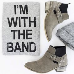 """Embrace your inner fan girl with our """"I'm with the band tee"""". Make it look more rock & roll with Moto boots and a leather jacket. #style #fashion #ootd #boots #music #fangirl"""