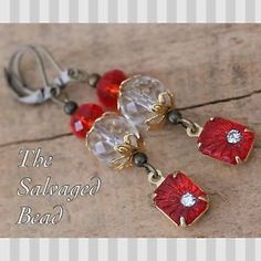 Flapper Style Crimson Red Rhinestone Earrings
