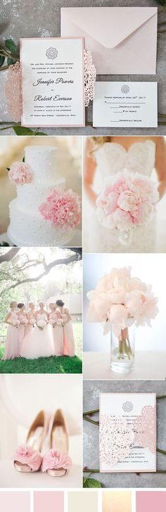 elegant and romantic soft pink wedding ideas and invitations