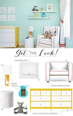 Bedroom colors idea mint green, yellow, & white