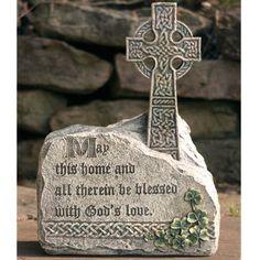 celtic outdoor wedding ideas   celtic cross garden stone