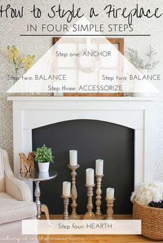 Learn how to style a fireplace with these simple tips! : Learn how to style a fireplace with these simple tips! Apartment Decoration, Decoration Bedroom, Diy Home Decor, Room Decor, Build A Fireplace, Fireplace Design, How To Decorate Fireplace, Fall Fireplace, Fireplace Update
