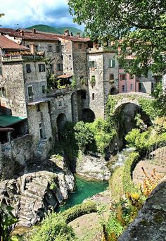 The dramatic village of Bagnone, set in the hills of Italy's picturesque region of Tuscany