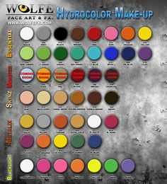 I personally use all TAG face paints but I like this chart ... good check list of the kit