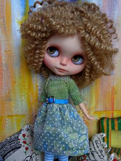 BLYTHE or Pullip DOLL Dress - OOAK -   soft knitted bodice over fabric skirt with belt by LittleLovelieShop on Etsy