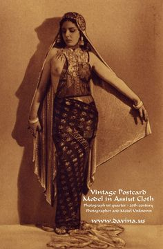 Vintage Postcard with Assiut draped model.  Posted in Davina's Costumer's Notes.  http://www.davina.us/blog/2011/09/assiut-vintage-photos/