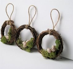 "Woodland Mossy Bird Nest Wreath Ornaments, Set of 3 ... via this Etsy store, ""Bella Mia Design""."