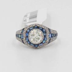 Platinum 1.33 ct Diamond & Sapphire Engagement Ring