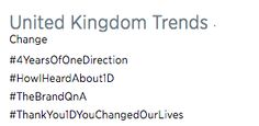 Several One Direction-related hashtags started trending. | One Direction Are 4 Years Old Today And The Fans Can't Handle It