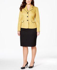 Le Suit Plus Size Tweed Three-Button Notch-Collar Skirt Suit