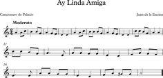 Descubriendo la Música. Partituras para Flauta Dulce o de Pico.: Ay, Linda Amiga