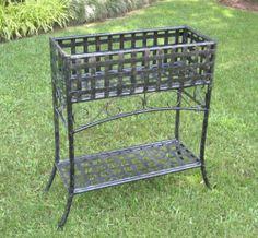 "Wrought Iron Planter Box - Lattice Design (Black Antique Pewter) (30""H x 24""W x 10""D)"