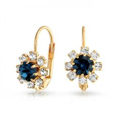 Bling Jewelry Sapphire Color Flower Leverback Earrings Gold Filled