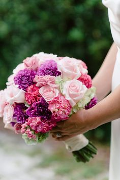 Bridal Bouquet by Lana with #FairbanksFlorist, #ErrolColonPhotography.  Hydrangea, Roses, Celosia, Dahlia, Stock