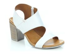EOS Footwear 'Stari' in White - Asymmetrical cut out block heeled sandal with inner sole zip. Also available in Black, Brandy and Taupe. Winter Shoes For Women, Italian Leather, Eos, Taupe, Footwear, Pairs, Sandals, Elegant, Summer