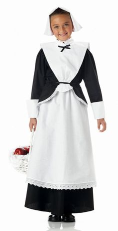 Child's Deluxe Pilgrim Girl Costume - Candy Apple Costumes
