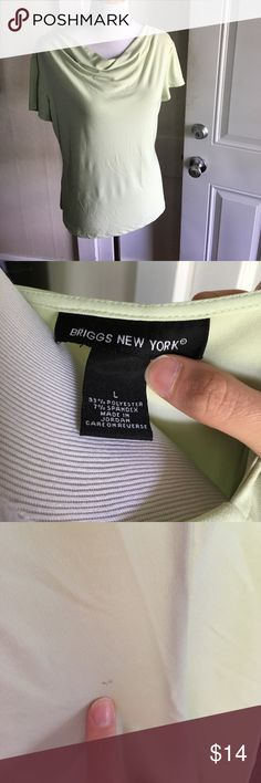 Briggs New York Top Size large. Only flaw to note is a spot on the back. Picture provided. Light spring green color. briggs new york Tops Tees - Short Sleeve
