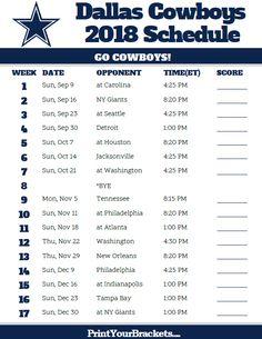 Printable 2018 Dallas Cowboys Football Schedule