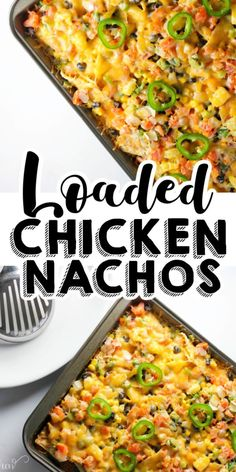 This loaded chicken nachos recipe is full of mouthwatering flavors. Made with chicken, black beans, corn, pico de gallo, and more. It's a nacho recipe that everyone will love. A perfect game day or quick dinner idea for leftover chicken. Loaded Chicken Nachos Recipe, Chicken Recipes, Easy Dinner Recipes, Appetizer Recipes, Easy Meals, Yummy Appetizers, Drink Recipes, Summer Recipes, Easy Recipes