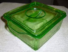 Vintage Green Glass Depression Era Refrigerator Dish - Hazel Atlas Glass Co.