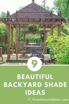 These outdoor shade ideas for the backyard are awesome whether you are looking for cover a deck, a patio or just part of your yard. The DIY patio cover ideas are very creative and simple to make and I love the gazebo and the pergola over the grill. Backyard Shade, Outdoor Shade, Backyard Garden Design, Pergola Shade, Shade Garden, Patio Shade, Garden Arbor, Wisteria Pergola, Garden Table