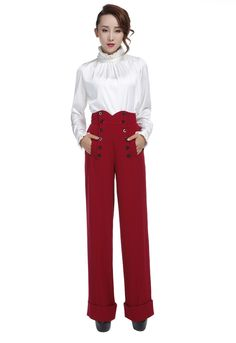 You can swing dance all night in these classy 1940s inspired pants! These high waisted, straight wide-leg pants have buttons going down the front that function for the opening and feature real front p