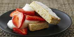 This is a traditional American shortcake. It is a cake-like biscuit filled simply with whipped cream and fresh, ripe strawberries.Makes 8 shortcake desserts.