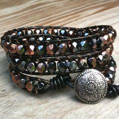 Copper Mist - black leather 3-wrap bracelet copper gray metallic beads