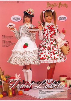 Fruit Lolita: dans le même style que les sweet lolita sauf que sur les robes il y a des motifs fruités ainsi que des accessoires fruits