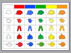 clothing chart - use as game to practise vetements, colours and reading charts Card Games For Kids, Math For Kids, Kindergarten Smorgasboard, In Kindergarten, Learning Colors, Kids Learning, Math Games, Activities For Kids, Color Worksheets For Preschool