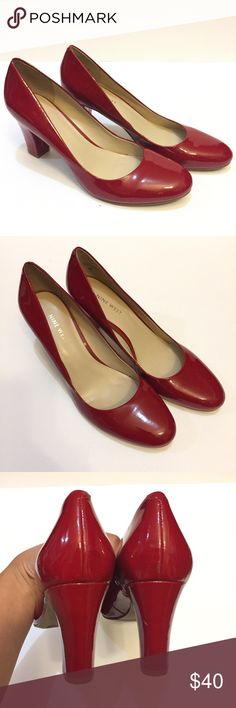 NEW Nine West Red Patent Leather Chunky Heels NEW Nine West Red Patent Leather Chunky Heels Round Toe. No box Nine West Shoes Heels