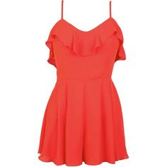 Marquitta LOVE Frill Top Cross Back Playsuit in Orange ($11) ❤ liked on Polyvore featuring jumpsuits, rompers, dresses, romper, macacão, onepiece, stuff, playsuit romper, flounce romper and going out rompers
