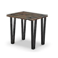 VECTOR T4530 RECTANGULAR END TABLE Restoration style has an updated new attitude. Aged steel hair pin legs with reclaimed wood, Vector embodies everything your urban/rustic dwelling should be.