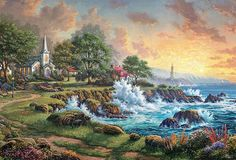 Seaside Haven Thomas Kinkade art for sale at Toperfect gallery. Buy the Seaside Haven Thomas Kinkade oil painting in Factory Price. Art Thomas, Thomas Kinkade Puzzles, Beautiful Artwork, Painting, Art, Seascape, Pictures, Ocean, Thomas Kinkade Paintings