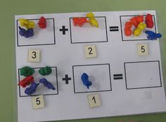 simple addition mats for use with manipulatives.  Good use of numbers too