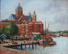 Sint Nicolaaskerk vanaf het Oosterdok Amsterdam - olieverf op paneel - Onbekende kunstenaar