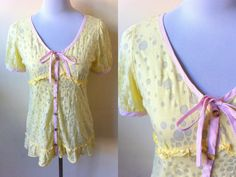 Summer Sale: sheer yellow polka dot button down top (small), peasant blouse with polka dots print by VintageHomage