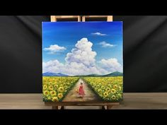 Paint a Little Girl Playing In A Sunflower Field in Acrylic Acrylic Painting Techniques, Acrylic Painting Canvas, Acrylic Art, Diy Painting, Cake Painting, Realistic Drawings, Art Drawings, Pencil Drawings, Small Canvas Paintings