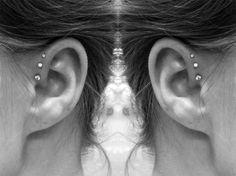 Triple forward helix piercing.