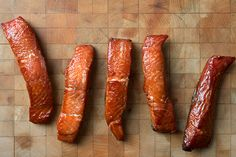 A recipe for making smoked salmon candy, also called Indian or Squaw candy - it's heavily smoked salmon cured in sugar and salt, then brushed with maple syrup.