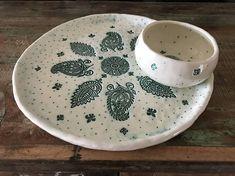 White ceramic plate and bowl set handmade pottery home & Ceramic plate and bowl set handmade pottery home decor gift ...