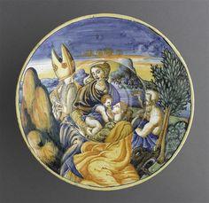Musée d'Ecouen- Assiette creuse: Vierge à l'Enfant et 3 saints. ECL1605. Milieu 16°s: sainte Marguerite, saint Pétrone, saint Jérôme. Italie (origine). Faïence, majolique. Diamétre: 0.296 m.