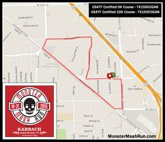 Course Map for Monster Mash Run in Houston Texas at Karbach Brewing