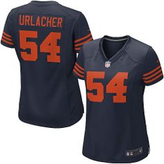 $109.99 Women's Nike Chicago Bears #54 Brian Urlacher Game 1940s Throwback Alternate Navy Blue Jersey