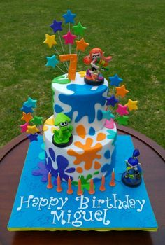 Splatoons Cake - Cake by Lisa-Jane Fudge Paintball Cake, Paintball Birthday, Cupcakes, Cupcake Cakes, Nintendo Party, 9th Birthday Parties, 8th Birthday, Birthday Ideas, Party Cakes