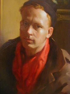 """Richard Lack, """"Self Portrait,"""" 1962 (detail). Oil on canvas. Collection of Maryhill Museum of Art."""