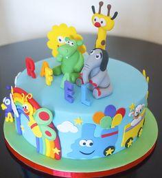 Baby TV - cake by Partymatecakes - CakesDecor Baby Tv Cumpleaños, Baby Tv Cake, Baby Boy Cakes, Cakes For Boys, Girl Cakes, Shark Birthday Cakes, Baby 1st Birthday, Sugar Dough, Confirmation Cakes