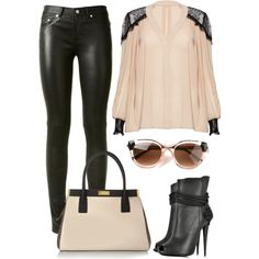 Lace + Leather  Follow my Instagram: inspirationforyourcloset