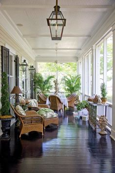 Another example of the side veranda (although it would be narrower). Back veranda could also be like this is going more traditional. Outdoor Living Space, Outdoor Rooms, Front Porch Decorating, Outdoor Space, Home, Outdoor Spaces, House With Porch, Southern Porches, Porch Design
